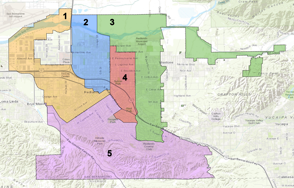 Redlands 2018 Voting Districts City Council